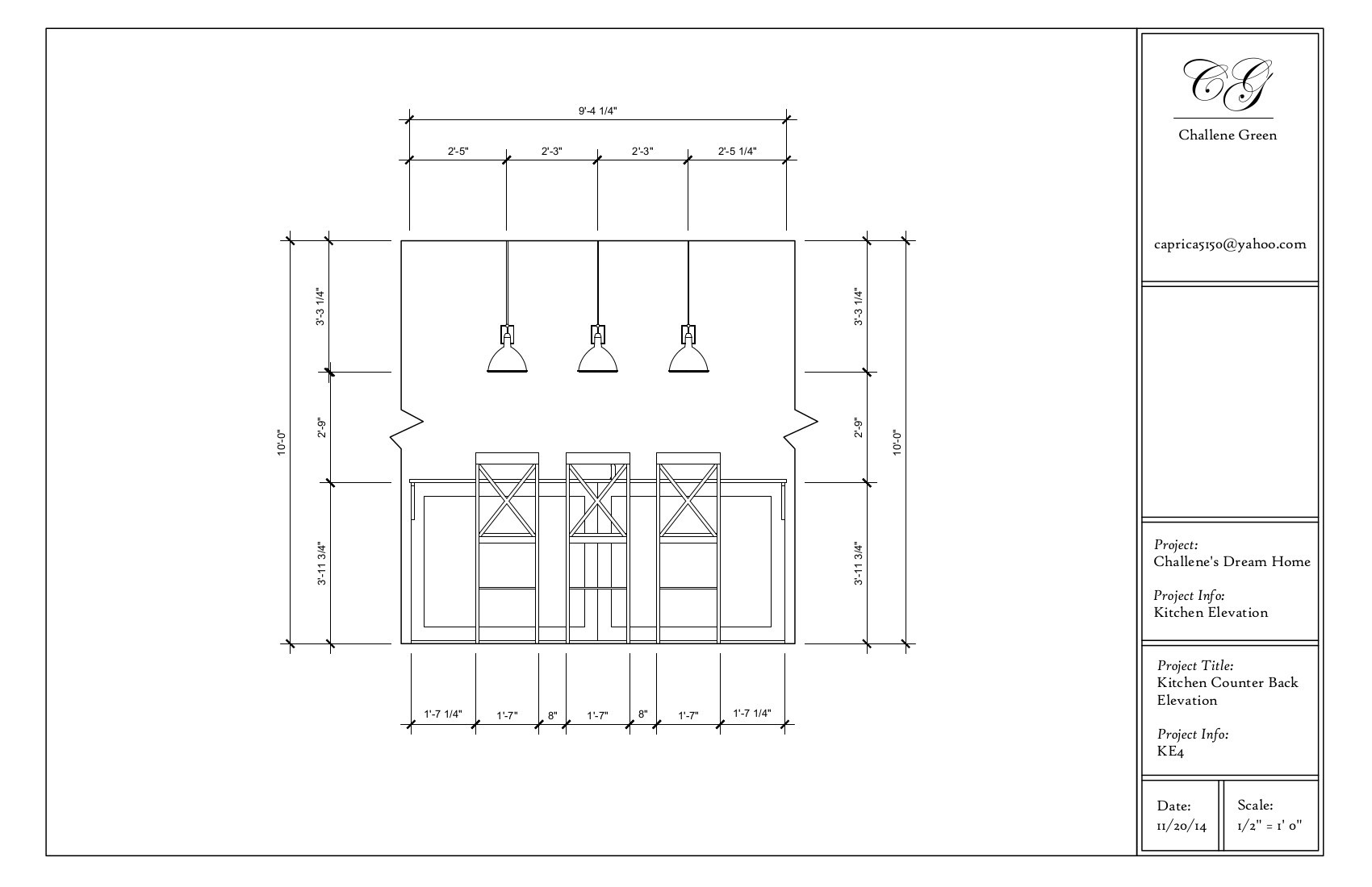 Front Elevation Kitchen : Autocad